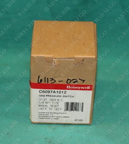 "Honeywell, C6097A1012, C6097A-1012, Gas Pressure Switch 1/4""NPT"