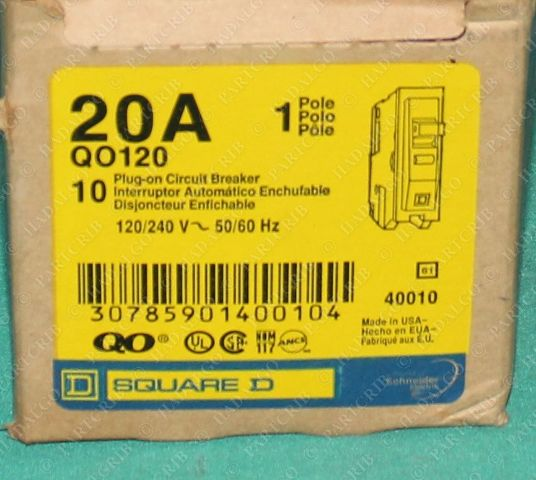 Square D, QO120, Plug-On Circuit Breaker 20A