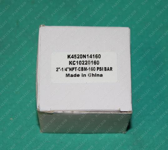 "Wilkerson, K4520N14160, KC10220160, Pressure Gauge 2""-1/4""NPT 0-160psi/bar 0-11 Bar"