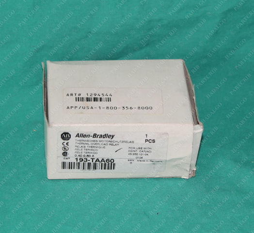 Allen Bradley, 193-TAA60, Thermal Overload Relay .4-.6A Motor Protector