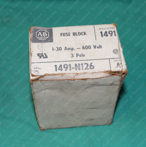 Allen Bradley, 1491-N126, Fuse Block 1-30Amp 600V 3Pole Holder 30 Amp