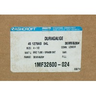 """Ashcroft 45 1279AS 04L Pressure Gauge 4-1/2"""" 30hg 30psi 1MF32600-024 Vacuum"""