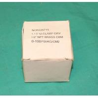"Nordson Pressure Gauge 1.95"" U-Clamp Dry 1/8"" NPT Brass CBM 0-100PSI NEW"