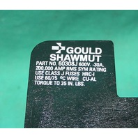 Gould Shawmut, 60308J, Fuse Bloack Holder 30a 3 Pole 600V Ferraz Shawmut NEW