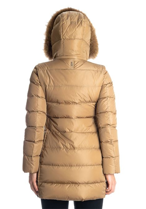 Piumino lungo pelliccia camel ADD | Piumini | 012PIUMA-2034