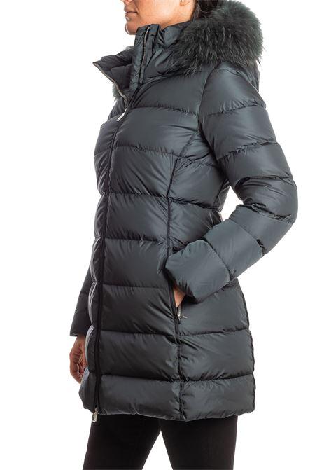 Piumino lungo pelliccia verde ADD | Piumini | 012PIUMA-5001
