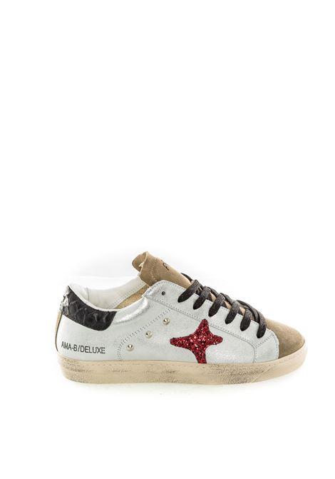 Ama brand sneaker glitter bianco/rosso AMA BRAND | Sneakers | 1615PELLE-BIANCO/ROSSO
