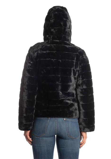 Ecopelliccia/Piumino corto reversibile nero EKOLUK | Pellicce | 20124PELO-BLACK