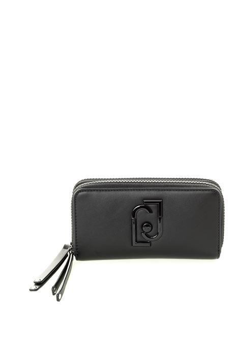 Portafoglio con logo gioiello nero LIU JO | Portafogli | AF0078E0141PELLE-22222