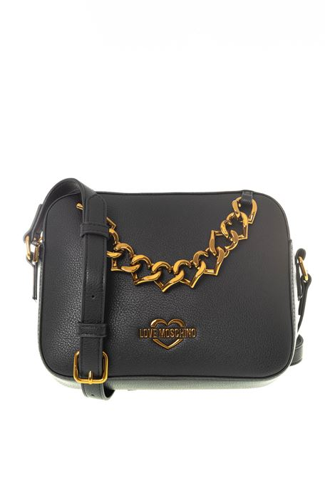 Tracolla new chain heart nero LOVE MOSCHINO | Borse mini | 4097PELLE-000