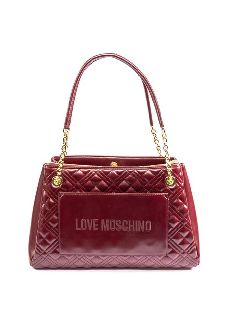 Shopping matelassé logo bordeaux LOVE MOSCHINO | Borse a spalla | 4205QUILTED-552