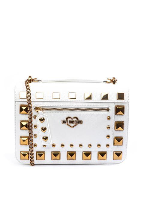 Tracolla media borchie bianco LOVE MOSCHINO | Borse a spalla | 4280PELLE-100