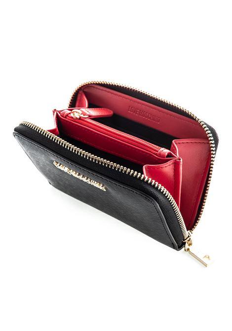 Portafoglio zip around mini nero LOVE MOSCHINO | Portafogli | 5558SAFFIANO-000