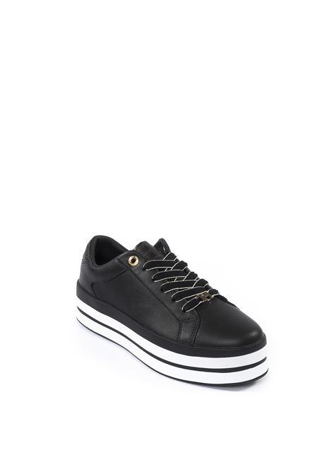Tommy Hilfiger sneaker double nero TOMMY HILFIGER | Sneakers | 5216PELLE-BLACK