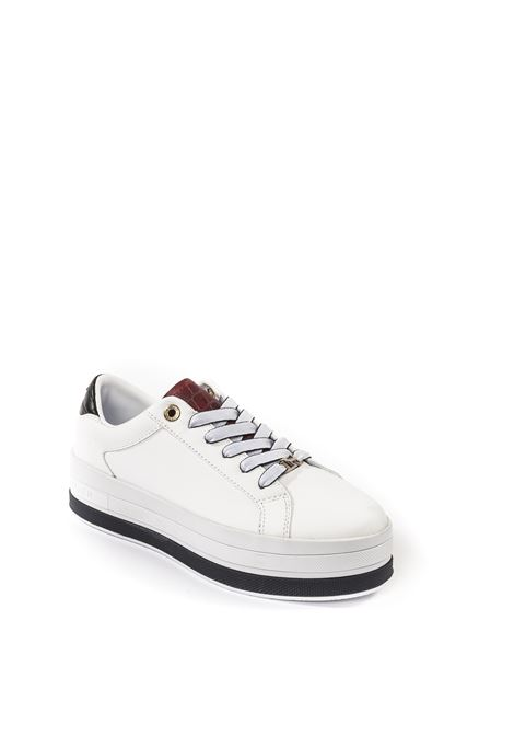 Tommy Hilfiger sneaker double bianco TOMMY HILFIGER | Sneakers | 5216PELLE-WHITE