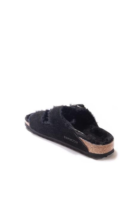 Sandalo arizona shearling nero BIRKENSTOCK | Sandali flats | ARIZONA SH752663-BLACK/BLACK