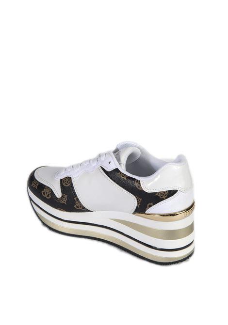 Sneaker hektore bianco GUESS | Sneakers | FL7HEEHEKTORE-WHT/BROWN