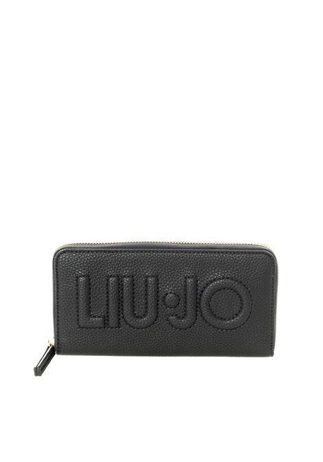Portafoglio bottalato zip nero LIU JO | Portafogli | NF1268E0086PELLE-22222