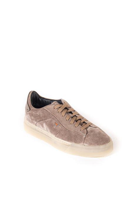 Sneaker suede logo taupe SANTONI | Sneakers | 21553CAMOSCIO-M45