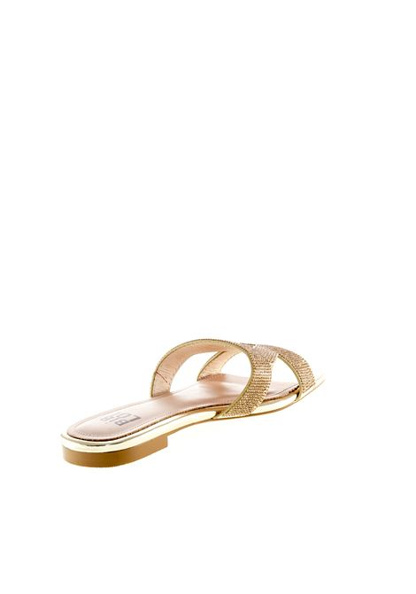 Bibi lou sandalo triangolo strass oro BIBI LOU | Sandali flats | 869PELLE/STRASS-ORO