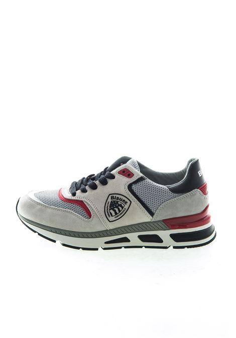 Blauer sneaker hilo bianco BLAUER | Sneakers | HILO01SUEDE/MESH-WHT/BLK/RED