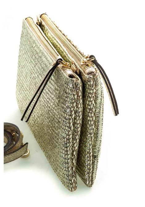 Carol j pochette raffia laminata oro  CAROL J | Borse mini | 547RAFFIA LAMINATO-PLATINO