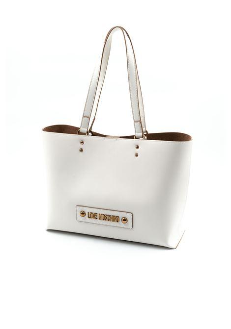 Shopping Logo Metal Studs bianco LOVE MOSCHINO | Borse a spalla | 4024PELLE-100