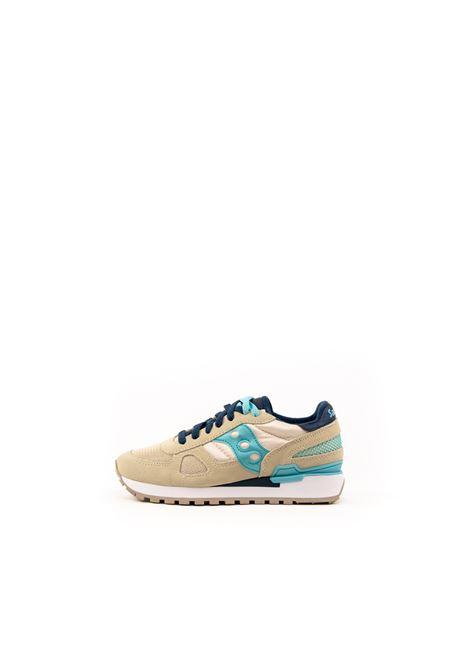 SAUCONY SNEAKER SHADOW BEIGE /AZZURRO SAUCONY | Sneakers | 1108SHADOW-745