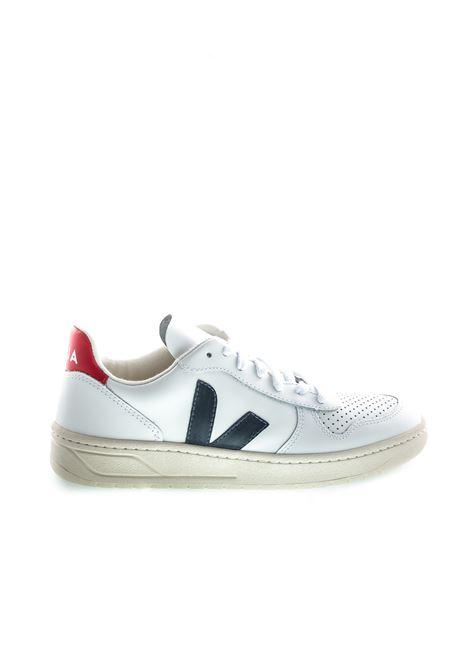 VEJA SNEAKER V10 BLU/BIANCO/ROSSO VEJA | Sneakers | V10LEATHER-021267