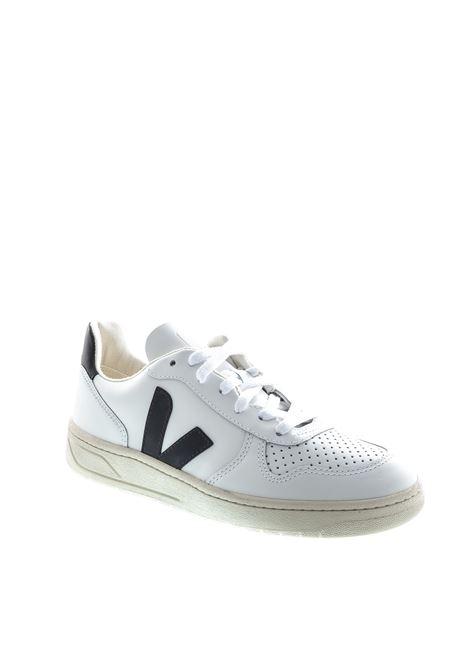 VEJA SNEAKER V10 BIANCO/NERO VEJA | Sneakers | V10LEATHER-20005