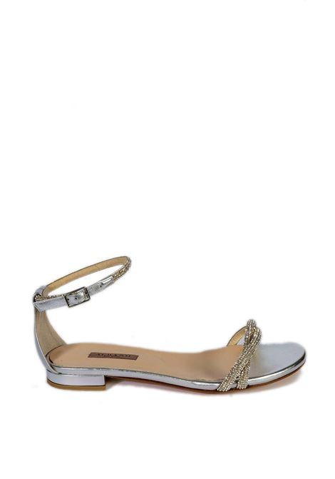 Sandalo flat cinturino strass argento ALBANO | Sandali | 8121MET-ARGENTO