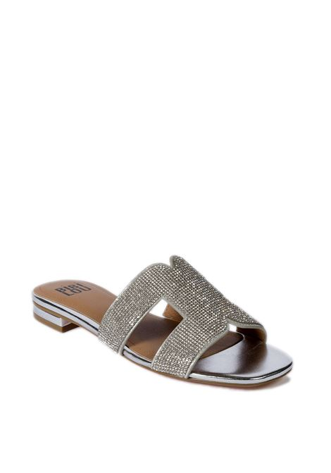 Sandalo flat strass argento BIBI LOU | Sandali flats | 838LAMINATO-PLATA