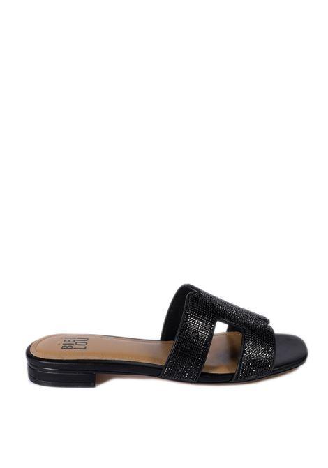 Sandalo flat strass nero BIBI LOU | Sandali flats | 838PELLE-NEGRO