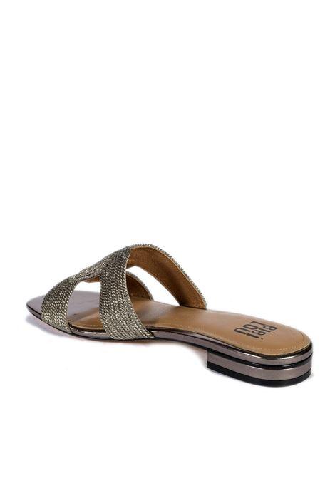 Sandalo flat  rafia piombo BIBI LOU | Sandali flats | 839LAMINATO-PLOMO