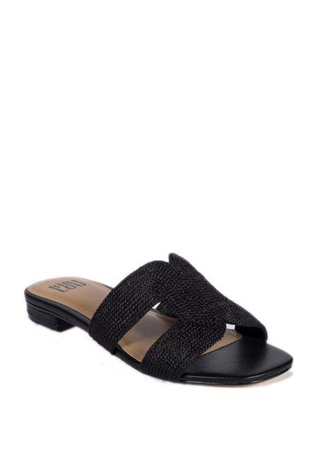 Sandalo flat rafia nude BIBI LOU | Sandali flats | 839PELLE-NERO