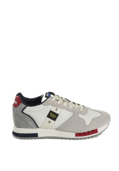 Sneaker queens bianco BLAUER | Sneakers | QUEENS01SUEDE-WHITE/RED/NAVY