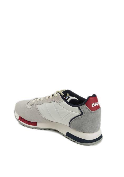 Sneaker queens bianco BLAUER | Sneakers | QUEENS01SUEDE-WHITE/RED/NAVY