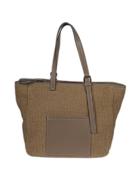 Shopping g rafia cuoio CAROL J | Borse a spalla | 893RAFIA/DOLLARO-COTTO