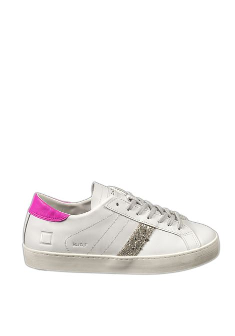Sneaker hill low calf  bianco/fuxia D.A.T.E | Sneakers | HILL LOW DCALF-WHI/FUXIA