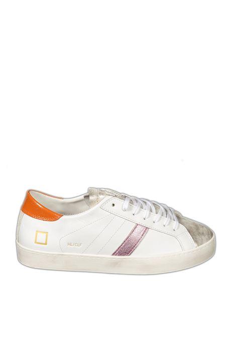 Sneaker hill low calf bianco/arancio D.A.T.E | Sneakers | HILL LOW DCALF-WHI/ORANGE