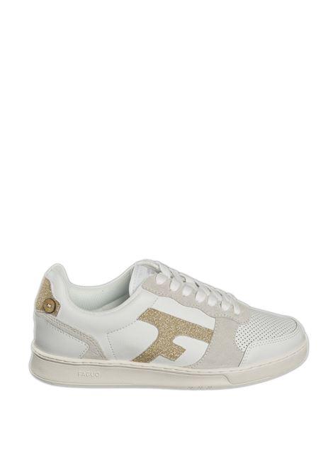 Sneaker hazel glitter bianco/oro FAGUO | Sneakers | CG0303 DLEATHER-BIANCO/ORO