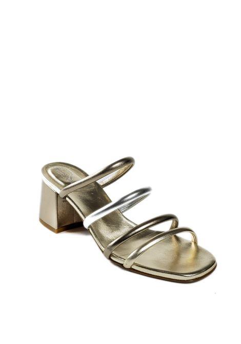 Sandalo fasce argento/platino FRANCO RUSSO | Sandali | 2307LAM-ARG/PLAT