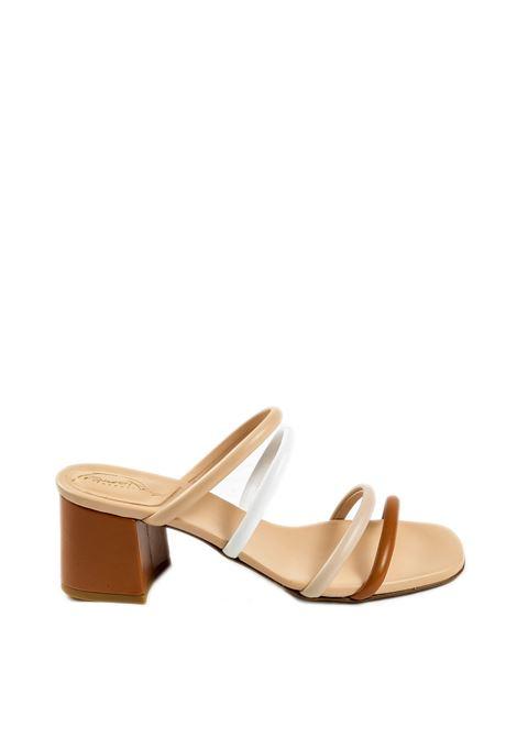 Sandalo fasce bianco/beige FRANCO RUSSO | Sandali | 2307NAPPA-BIA/BEIGE