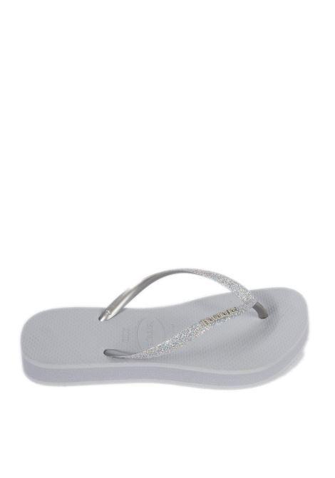 Sandalo infradito flatformm glitter argento HAVAIANAS | Sandali flats | 4144764SLIM FLTAFORM GLT-3498