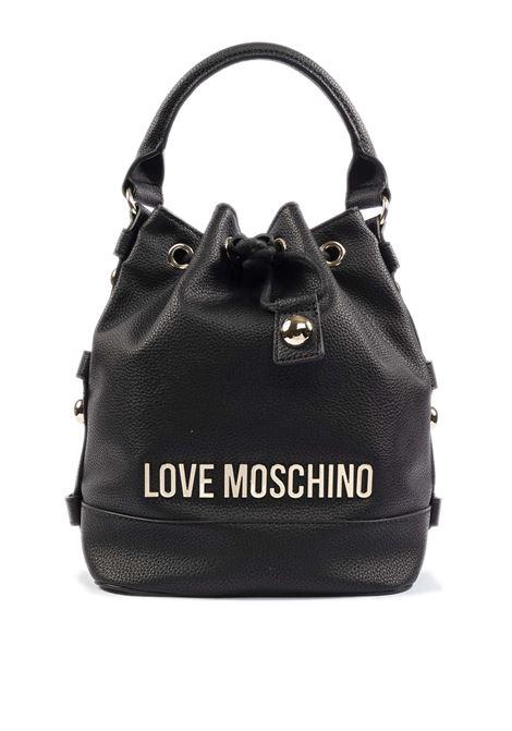 Borsa a secchiello con logo nero LOVE MOSCHINO | Borse mini | 4020PELLE-000