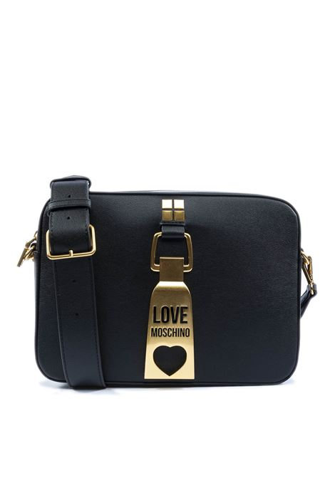 Borsa a tracolla media con logo nero LOVE MOSCHINO | Borse a spalla | 4086PELLE-000