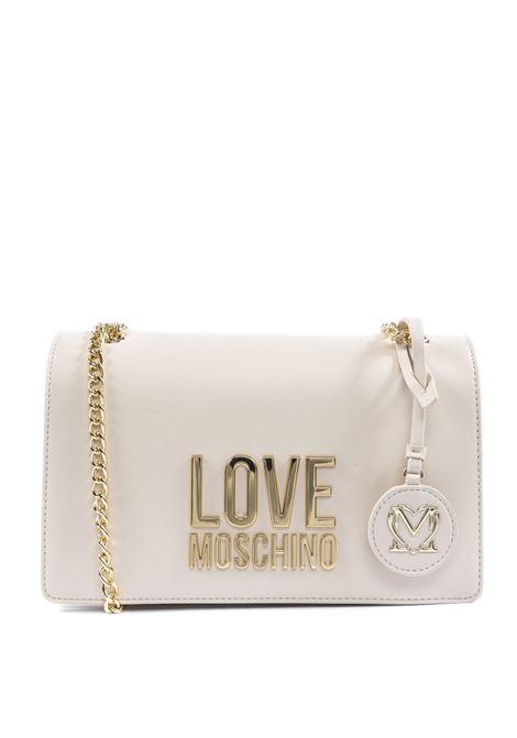 Borsa a tracolla con logo bianco/oro LOVE MOSCHINO | Borse a spalla | 409910A-BIANCO/ORO