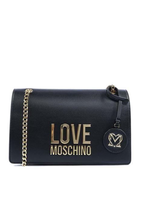 Borsa a tracolla con logo nero/oro LOVE MOSCHINO | Borse a spalla | 4099PELLE-00A