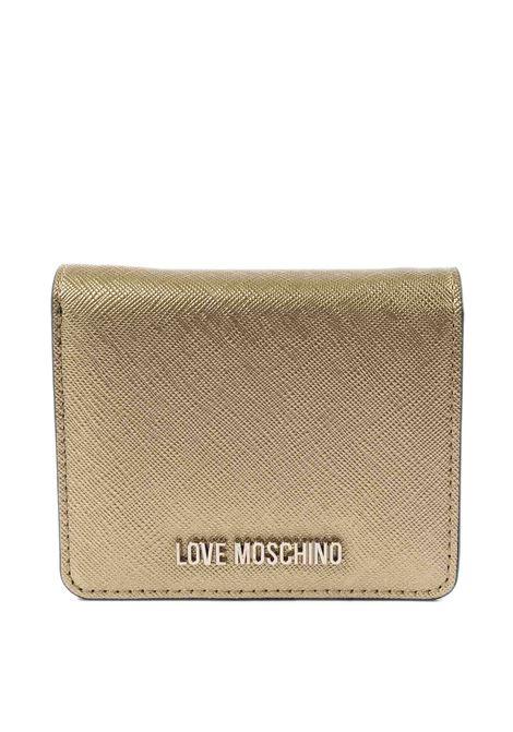 Portafoglio mini con logo oro LOVE MOSCHINO | Portafogli | 5562PELLE-901
