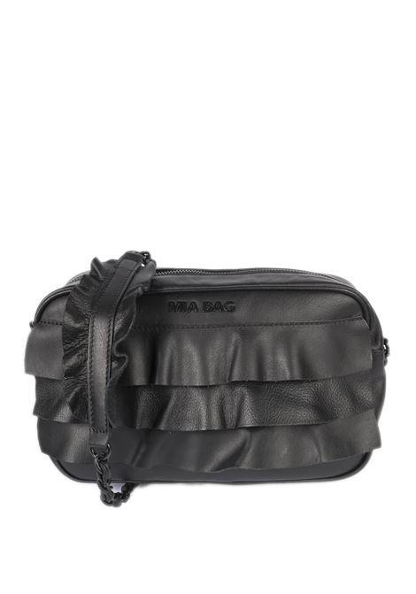 Tracolla zip rouches nero MIA BAG | Borse a spalla | 21115ROUCHES-001